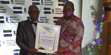 The Chairman of  Stats SL Council and the Statistician General/CEO were honoured at the Sierra Ovation Awards Ceremony